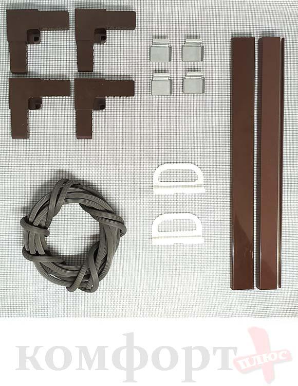 Комплект для москитной сетки ,коричневый, для сеток до 0,81×1,56 м